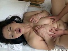 Yuuko Kiremach was sleeping. He sneaks in her bedroom and starts waking her up, touching her twat and slapping her face with a cock!