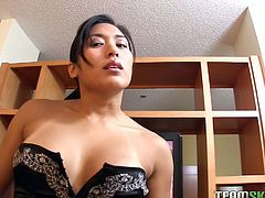 Watch this extremely sexy and cute asian babe suck that large cock of her new friend in the kitchen in Team Skeet sex clips.