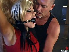 Horny bitch Gia Paloma wearing latex clothes lets Mark Davis bind her in a basement. Mark tortures Gia and then drills her snatch as hard as he can from behind.