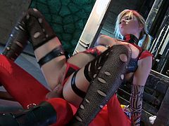 Spicy blonde hooker in ripped up stockings and red leather lingerie humps on her fucker's big dick in reverse cowgirl pose. Slut shakes her big tits while getting plowed missionary style.