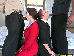 With their glasses on, the two horny girls take the big black cocks in their mouths. After giving head it is time to get their asses plundered.