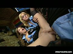 In leather sexy outfit Sarah Blue and her girl friend got fucked hard