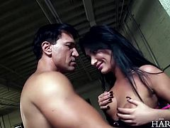 dark hair beauty mouth fucked by a hunk