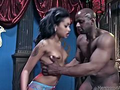 Luscious ebony girl with beautiful face and sexy body sucks massive black cock deepthroat. She then gets penetrated in her wet twat missionary style.