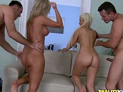 Two lewd blondes get their holes drilled hard by two men