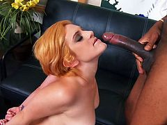Blonde loves black cock in her hand and she is ready to suck that hard cock before she gets it deep in her tight vagina, perfect interracial scene.