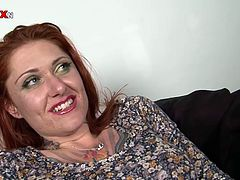 Dirty hoe with cheesy looks spreads her legs wide sitting in front of old daddy. She slides her fingers against her pussy hole. She then gets her butt oiled up.