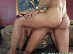 Screw My Wife Club brings you an amazing free porn video where you can see how a slutty blonde belle enjoys some hot cuckolding right in front of her husband.