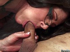 She gets banged doggystyle and he paws her tits tough. Then she rides his cock ardently and sucks it. Have a look ath this mature in glasses in Fame Digital sex clip!