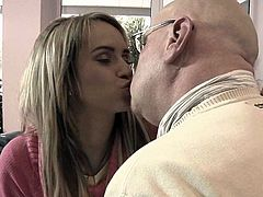 Bald geezer in glasses is happy to stick his time worn cock into tight teeny pussy of petite blonde babe. Young hottie gives blowjob in 69 pose and rides that old cock on to before getting plowed doggystyle.