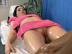 Oil  sex round Sleaze black haired doll
