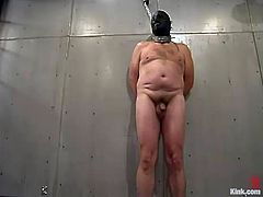 Sexy Kym Wilde chains the guy up in his prison ward. Then she whips his ass and tortures balls. This chick show no mercy to the inmate.