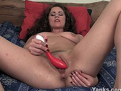 Seductive brown haired cutie Alex masturbating her delicious muff with a toy
