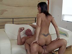 Experienced tall Christian with shaved head and long rock hard cock seduces smoking hot brunette milf Syren De Mer with french manicure and makes her cum screaming on couch.