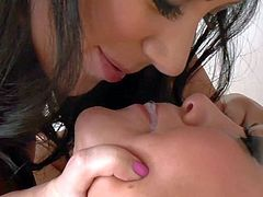 Skilful lusty asian milf London Keyes with cheep heavy make up and french manicure licks black haired bombshell and polishes her shaved pussy with Hitachi vibrator in amazing wet fantasy.