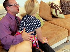 Blonde, slim and very cute Carmen is making this daddy very horny! He hired her as a babysitter, but soon the guy found out that she's good for something else! The dad slapped her sexy butt, licked and fingered her pussy. Will his cum fill this naughty babysitter? Stick around and find out!