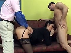 Brunette mom in sexy lingerie gets waisted by two males during rough threesome
