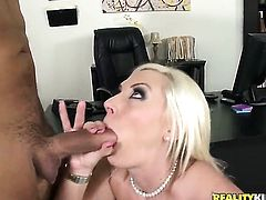 Blonde Skylar Price with big jugs and hairless bush gets turned on then skull hammered by Voodoo