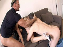 Cindy Dollar is a stunning MILF with high heels and glasses. She got involved into a nasty double penetration threesome and these dudes destroyed her holes!
