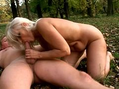 Salacious mature blonde Szandra is having fun with some guy outdoors. She favours the dude with a blowjob and then allows him to drill her cunt doggy style and in cowgirl position.