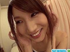 Mikuni Maisaki is a super cute Japanese babe with gorgeous boobs. She takes her clothes off and starts deepthroating his cock like a slut!