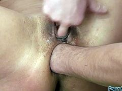 This brunette is so fucking horny that's unvbelievable. She lets her lover stretch her tight butthole with his hand. Then she rides him in reverse cowgirl position.