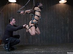 Cutie Lyla is a Hispanic chick, with small tits and a tight sexy ass. She's being pleased by our skilled executor, that tied her up in chains and leather belts, and now he pinches her feet. The executor attached weights on her fragile nipples and induces her a lot of pain, as she stays there secured and defenseless