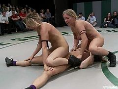 Lustful lesbians Ariel X, Dia Zerva, Jessie Cox and Mellanie Monroe are having some fun on tatami. The girls wrestle with each other and then rub and lick each other's sweet pussies.