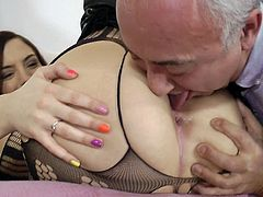 Cutie bends over for this old guy who loves feeling her pink vag covering his dick