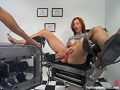 Redhead cutie Kellyfire gets fucked by a doctor and a sex machine