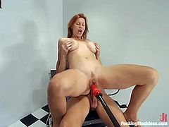 Hot redhead milf Kellyfire is having fun with some guy in a hospital ward. She takes the dude's cock into her butt and jumps on it while her snatch is being pounded by the fucking machine.