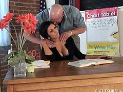 Dylan Ryder is a slutty schoolteacher. She bends over her desk to let Christian lick her ass from behind before spreading wide for some powerful penetration.