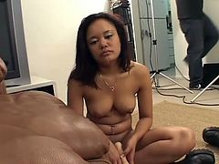 Sexy babe is ready for blowjob and she is on her knees and prepared for that, that dude just need to seat and enjoy while she sucks his cock.
