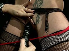 Brunette chick with small perky tits is crucified in kinky BDSM porn video. Tough mistress thrusts black dildo in her mouth ordering her to suck it. She then stuffs her sex slave's pussy with the tool.