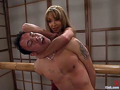 Kai is a poor man, who is always under domination of chicks like Janay! She ties him up and starts making him feel so damn fucked up!