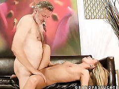 Blonde Bianca Arden is in heaven eating guys erect pole