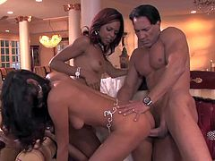 Adorable dark haired young girl Paola Rey and smoking hot redhead ebony with awesome make up and perfect body give blowjob to Marco Banderas and gets nailed in mind blowing threesome.