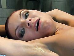 Brunette with massive jugs has lesbian fun with lesbian Mandy Bright
