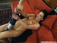 Hot dark-haired milf Katja Kassin shows how nasty she really is. She strips and demonstrates her nude body and then gets doggy style banged by a fucking machine.