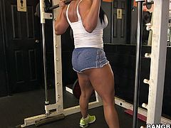 Look at this chick, bro! Like she swings her sexy ass and her muscles and... She has a hollywood smile. Have a look at this chick in Bang Bros Network!