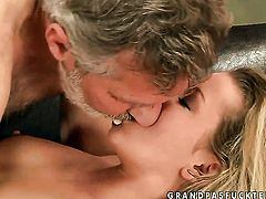 Blonde Bianca Arden spreads her pussy lips invitingly in hardcore action