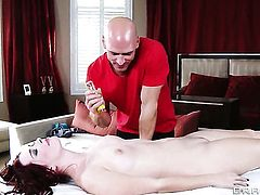 Johnny Sins buries his rock hard schlong in delicious Melody Jordans back porch