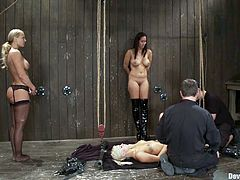 Two blondies get suspended by Isis Love. After that both girls get tortured with clothespins by their horny mistress.