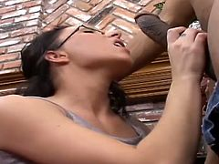 Brunette chick in glasses and stockings sucks big black cock. Then this hottie gets her hair pulled and pussy fucked rough from behind.