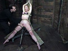 Submissive Darling gets tied up and tortured with claws fixed to her nipples. Later on she also gets her soaking pussy toyed and clothespinned.