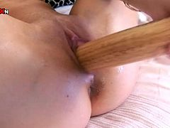 Extremely perverted chick with small perky tits has invited you into the living room for a private show! She finds a baseball that suits her needs and wants to reach sweet orgasms.