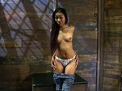Cute exotic girl Yasmine de Leon is having fun with some guy indoors. She lets him tie her up and put a gag into her cute mouth adn then enjoys getting her pussy rubbed with a dildo.