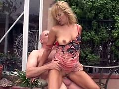 Mature blonde slut knows how to make cock hard and she can not wait to seat on that thing after that, this bald dude just need to enjoy.