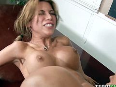 She gets her half-shaved twat fucked wide spreading her legs.Then she rides his monster cock and rides it in a reverse cowgirl pose in Team Skeet sex clip!