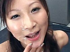 Perky tits japanese babe is in great need to have her mouth filled with creamy cum